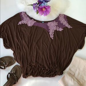 Free People brown embroidered collar slouchy top S